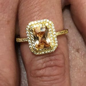 Princess Cut Yellow Gold And CZ Ring